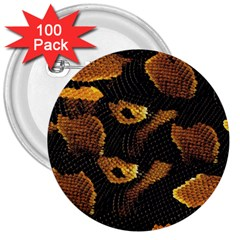 Gold Snake Skin 3  Buttons (100 pack)