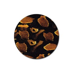 Gold Snake Skin Rubber Coaster (round)