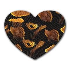 Gold Snake Skin Heart Mousepads