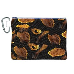 Gold Snake Skin Canvas Cosmetic Bag (XL)