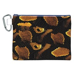 Gold Snake Skin Canvas Cosmetic Bag (XXL)