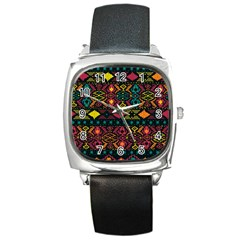 Bohemian Patterns Tribal Square Metal Watch