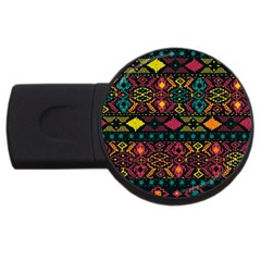 Bohemian Patterns Tribal USB Flash Drive Round (4 GB)