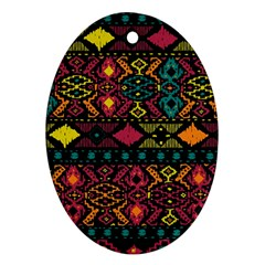 Bohemian Patterns Tribal Oval Ornament (two Sides)