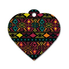 Bohemian Patterns Tribal Dog Tag Heart (One Side)
