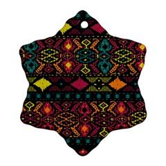 Bohemian Patterns Tribal Snowflake Ornament (two Sides)