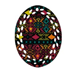 Bohemian Patterns Tribal Oval Filigree Ornament (two Sides)