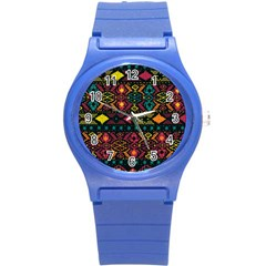 Bohemian Patterns Tribal Round Plastic Sport Watch (s)