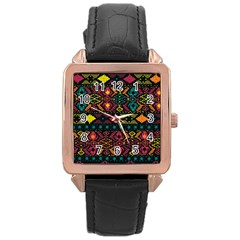 Bohemian Patterns Tribal Rose Gold Leather Watch