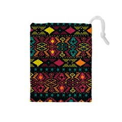 Bohemian Patterns Tribal Drawstring Pouches (medium)