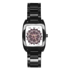 Ornate mandala Stainless Steel Barrel Watch