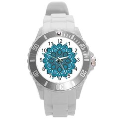 Ornate mandala Round Plastic Sport Watch (L)