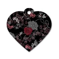 Sakura Rose Dog Tag Heart (Two Sides)