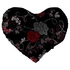 Sakura Rose Large 19  Premium Flano Heart Shape Cushions