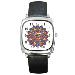 Ornate mandala Square Metal Watch