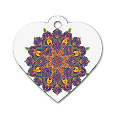 Ornate Mandala Dog Tag Heart (one Side)