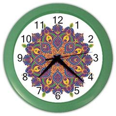 Ornate mandala Color Wall Clocks