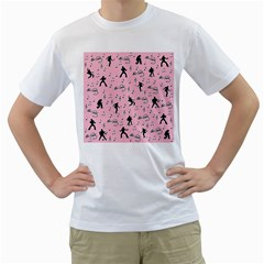 Elvis Presley  pink pattern Men s T-Shirt (White) (Two Sided)