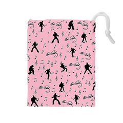 Elvis Presley  pink pattern Drawstring Pouches (Large)