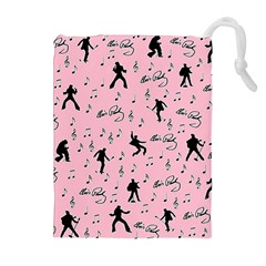 Elvis Presley  pink pattern Drawstring Pouches (Extra Large)