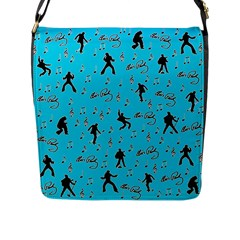 Elvis Presley  pattern Flap Messenger Bag (L)