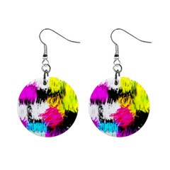 Colorful blurry paint strokes                         1  Button Earrings