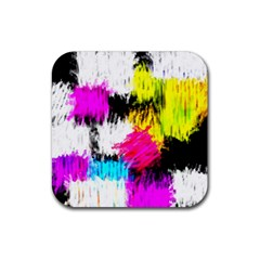 Colorful blurry paint strokes                         Rubber Square Coaster (4 pack