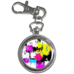 Colorful blurry paint strokes                         Key Chain Watch