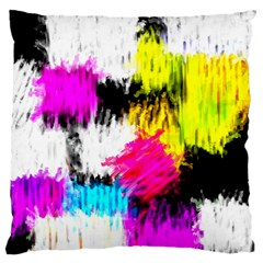 Colorful blurry paint strokes                   Large Flano Cushion Case (Two Sides)