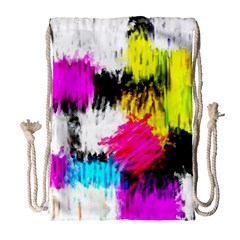 Colorful blurry paint strokes                         Large Drawstring Bag