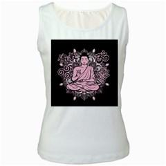 Ornate Buddha Women s White Tank Top