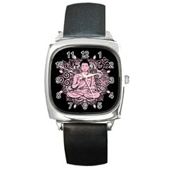 Ornate Buddha Square Metal Watch