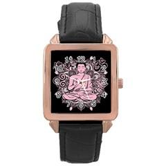 Ornate Buddha Rose Gold Leather Watch