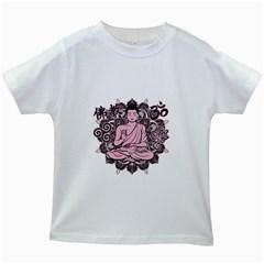 Ornate Buddha Kids White T-Shirts