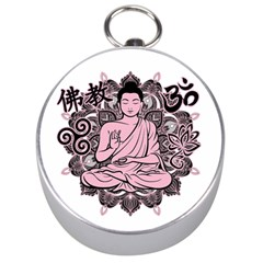Ornate Buddha Silver Compasses