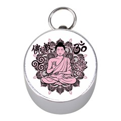 Ornate Buddha Mini Silver Compasses