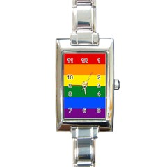 Pride rainbow flag Rectangle Italian Charm Watch