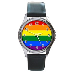Pride rainbow flag Round Metal Watch