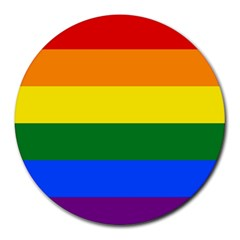 Pride rainbow flag Round Mousepads