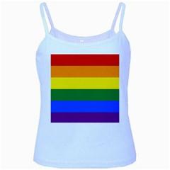 Pride rainbow flag Baby Blue Spaghetti Tank