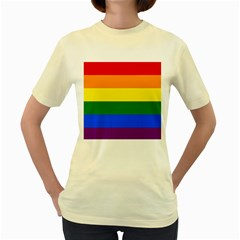 Pride rainbow flag Women s Yellow T-Shirt
