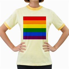Pride rainbow flag Women s Fitted Ringer T-Shirts