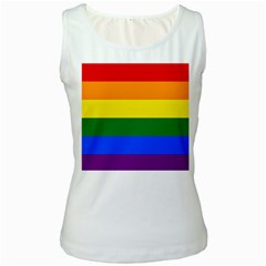 Pride rainbow flag Women s White Tank Top
