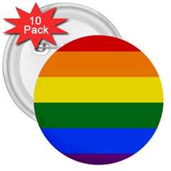 Pride rainbow flag 3  Buttons (10 pack)