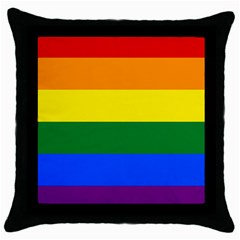 Pride rainbow flag Throw Pillow Case (Black)