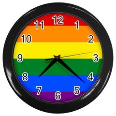Pride rainbow flag Wall Clocks (Black)