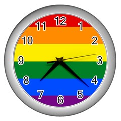 Pride rainbow flag Wall Clocks (Silver)
