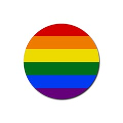 Pride rainbow flag Rubber Coaster (Round)
