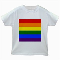 Pride rainbow flag Kids White T-Shirts