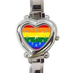 Pride rainbow flag Heart Italian Charm Watch
